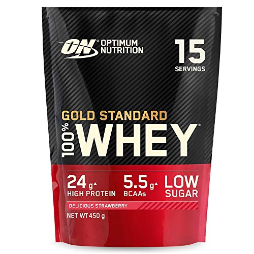Optimum Nutrition Gold Standard Whey Protein Powder Muscle Building Supplements With Glutamine and Amino Acids, Delicious Strawberry, 15 Servings, 450 g, Packaging May Vary