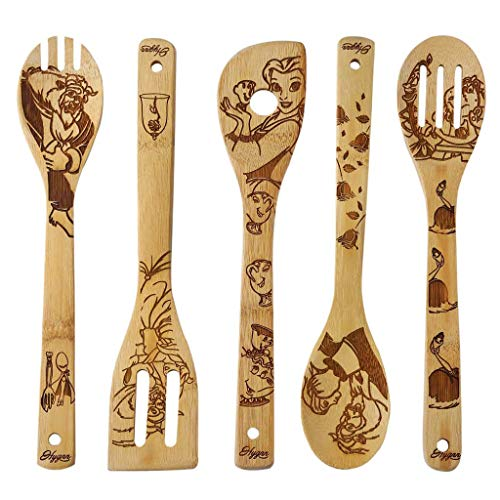 5 PCS Unique Pattern Burned Wooden Spoons Set Utensil Set, Utensils Wooden Spoon Carved Spatulas Wooden Utensils for Cooking