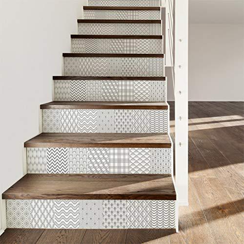 Pegatinas adhesivas para escaleras de baldosas   Adhesivo contramarca baldosas de cemento – Pegatinas contramarcas baldosas   escaleras de cemento adhesivo – Azulejos – 15 x 105 cm – 6 tiras