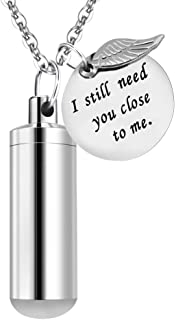 Dletay Cremation Jewelry Urn Necklace Pet Memorial Ash Holder Necklace with Angel Wing Charm Memorial Keepsake-I Still Need You Close to Me
