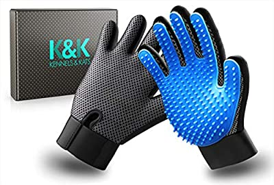 K&K Pet Grooming Glove Set. Premium Deshedding glove for easy, mess-free grooming of Dogs, Cats, Rabbits and Horses with Long/Short/Curly fur. 1 Pair Gentle, Pet Hair Remover Mitt & Storage Bag