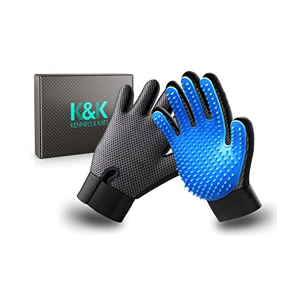 K&K Pet Grooming Glove Gift Set. Premium Deshedding glove for easy, mess-free grooming of Dogs, Cats, Rabbits and Horses with Long/Short/Curly fur. 1 Pair Gentle,Pet Hair Remover Mitt & Storage Bag