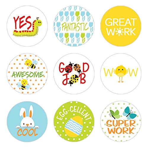 Adesivos de recompensa de professores para crianças - 1.080 adesivos, Spring