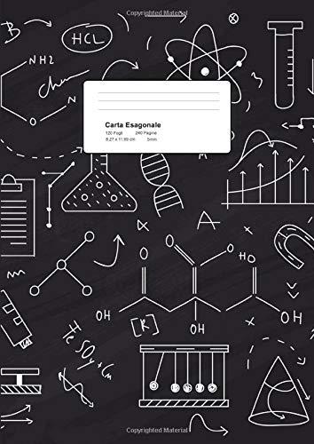 Carta Esagonale: Quaderno Carta Esagonale per Chimica Organica, Disegni e Progetti Video Games, Giochi di Ruolo e molto altro!  Lato esagono 5mm.