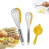 barillas batir-3 Packs Batidor Varillas Separador de yema de huevo Set Batidora de Mano Varilla cocina para Batir de Acero Inoxidable Batidor de Alambre para Mezclar Remover
