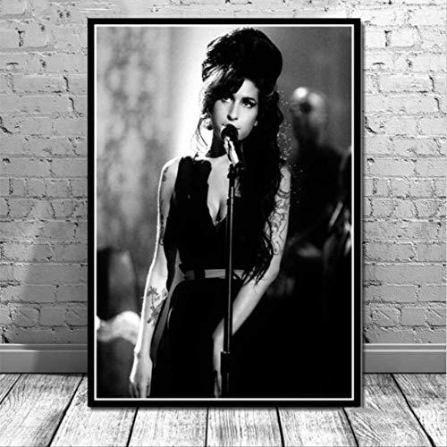 NOBRAND Belleza Mujer Amy Winehouse Cantante De Música Estrella Pop Lienzo Póster Impresiones Arte Personalizado Pintura Pared Cuadros Decoración del Hogar 40 * 60 Cm Sin Marco