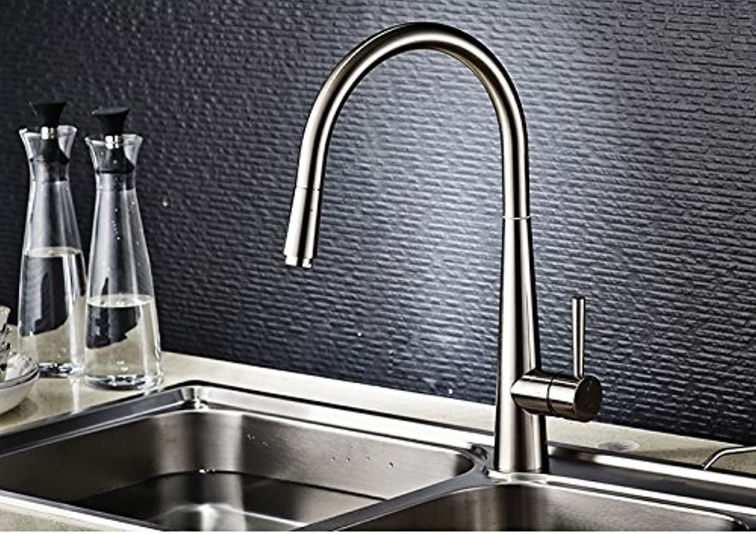 All Copper Hot And Cold Single Hole Pull Type Kitchen Faucet Drawbench Vegetables Basin Sink Washing-up Sink Faucet redate