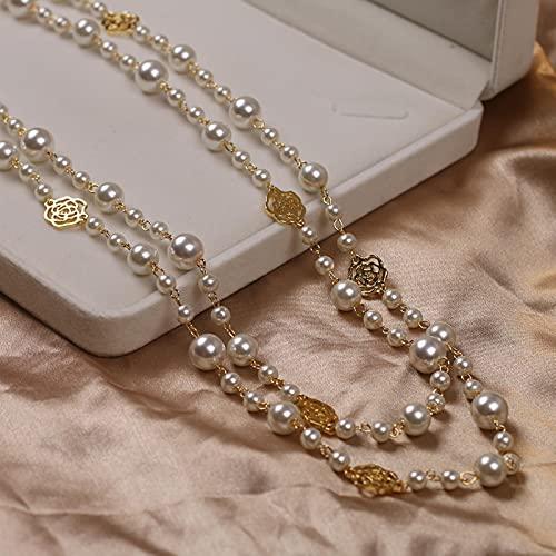 CXWK Collana Lunga di Perle di Camelia per Donna Collana a Catena con Maglione a Fiori Rosa a Doppio Strato
