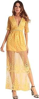 Women's Sexy Short Sleeve Long Dress Low V-Neck Lace Romper