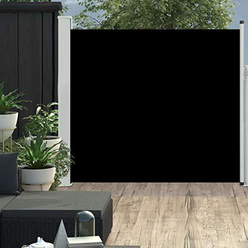 vidaXL Seitenmarkise Ausziehbar Sonnenschutz Sichtschutz Windschutz Seitenrollo Markise Seitenwandmarkise Balkon Garten Terrasse 170x300cm Schwarz