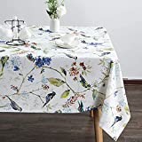 VOGOL Spring Summer Tablecloths Wrinkle Free Anti-Fading Table Cloth Linen Blue Birds and Floral Rectangle Table Cover for Kitchen Dining, Party, Holiday, Buffet and Wedding
