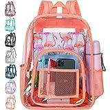 Clear Backpack, Heavy Duty Transparent Bookbag for Women - Orange