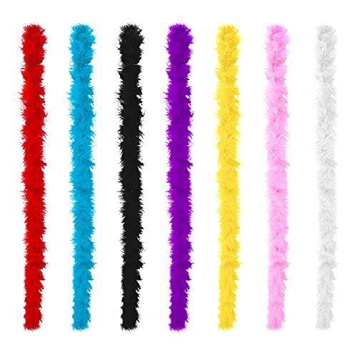 Plumas para manualidades,7 piezas de 2 m de plumas de colores decoración de tiras de plumas árbol de Navidad, boa de plumas para manualidades pendientes atrapasueños guirnalda decoraciones para bodas