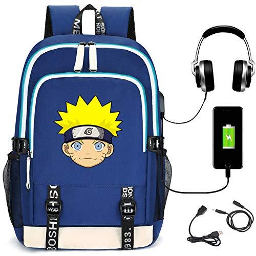 ZOSUO Mochila Escolares Juveniles para Uzumaki Naruto Unisex De Carga USB Backpack Resistente Al Agua Universitaria Daypacks Hombres