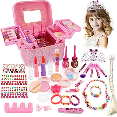 balnore 34 Pcs Kids Makeup Toys Real Girls Makeup Kit Washable Makeup Toy Set with Fashion Portable Makeup Box Including, Eye Shadows, Lipstick, Liquid Foundation, Nail Polish, Wig and Royal Crown
