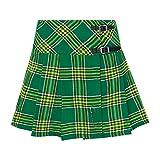 Tartanista - Kilt/Minifalda Escocesa con Correas y alfiler - 41,9 cm - Tartán Irish - EU46 UK18