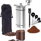 手挽き コーヒーミル ステンレス製 手動式ミル コーヒー豆ミル 折畳ハンドル 陶器 研磨 コーヒー豆 粉砕機 挽きつぶしやすい 持ち運び 便利 収納袋付き コーヒーさじ 取扱説明書付き