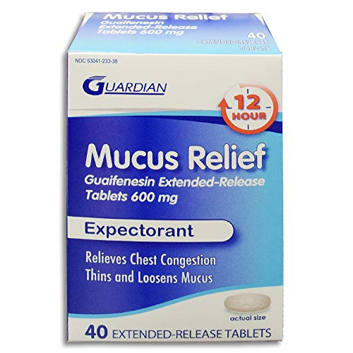 Guardian Mucus Relief, 600mg Guaifenesin 12 Hour Extended Release, Chest Congestion Expectorant (40 Count Box)
