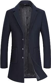 Men's Wool Peacoat Winter Medium Length Trench Coat Top Coat