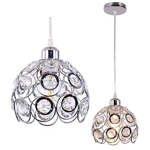 Lámpara colgante de cristal, lámpara colgante de metal, lámpara de araña de cristal moderna, lámpara de techo para pasillo, para cocina, isla, mesa de comedor, barra de dormitorio, base E26, cromo