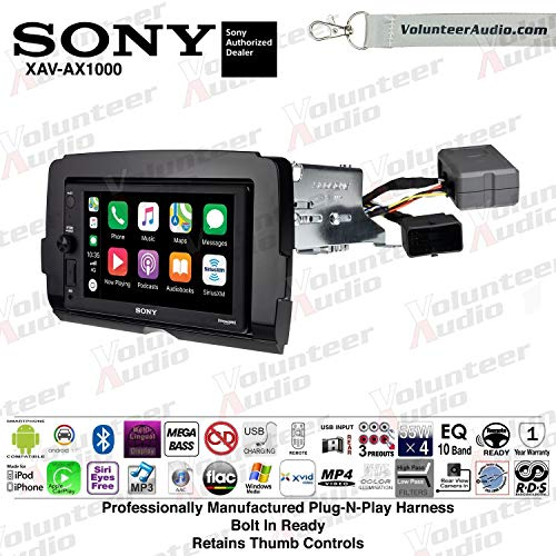 Sony XAV-AX1000 Double Din Radio Install Kit With Apple CarPlay, Android Auto, Sirius XM, Bluetooth For 2014-2017 Harley Davidson Motorcycles, May Not Work With CVO Models