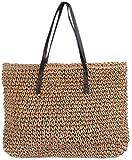 Bolso de mano de paja para mujer Bolso de playa Verano Playa Crochet Bolsos de hombro Bolso-45x35x16cm