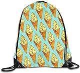 landianguangga Drawstring Bag Unisex Vanilla Ice Cream Soft Serve Pattern Drawstring Bag Drawstring Backpack Gym Bag 100% Polyester Material Travel Bag for Men Women