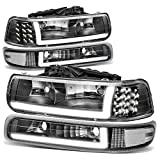 4PCS Black Housing Clear Corner LED DRL Headlight + Bumper Lamps Replacement for Chevy Silverado Suburban Tahoe 99-06