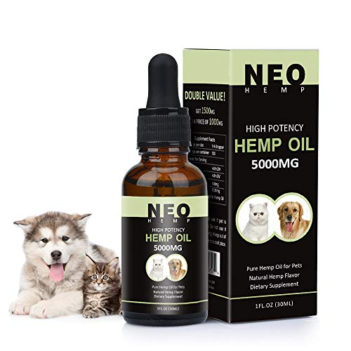 NeoHemp for Dogs and Pets, 100% Natural,with Omega 3, 6 & 9(5000mg/30ml)