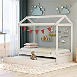 Children House Bed with Trundle Bed for Kids, Twin Size, Solid Wood Twin Daybed Frame with Trundle, Tent Bedroom Furniture Comfort & Safe