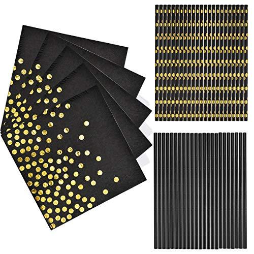 50 Stück Servietten Papier Schwarz Gold, 50 Stück Strohhalme Papier Schwarz Gold Biologisch Abbauba für Birthday Party, Hochzeit, Weihnachten, Neujahr