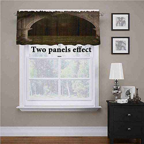 """Interestlee Gothic Bedroom Blackout Valance Tier Old Retro Arch in The Garden Renaissance Meadow Forest Dark Scary Design Image for Kids Room/Baby Nursery/Dormitory Green Beige, 56"""" x 14"""""""