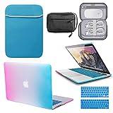 GUPi BUNDLE - Carcasa rígida para Apple MacBook Pro A1708 (pantalla Retina de 13 pulgadas, funda de neopreno y bolsa de accesorios resistente al agua, color azul