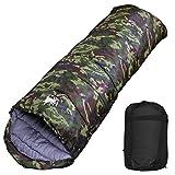 丸洗いのできる寝袋 封筒型 最低使用温度 -15℃ コンパクト収納袋付き シュラフ 寝袋 オールシーズン (NEW迷彩)