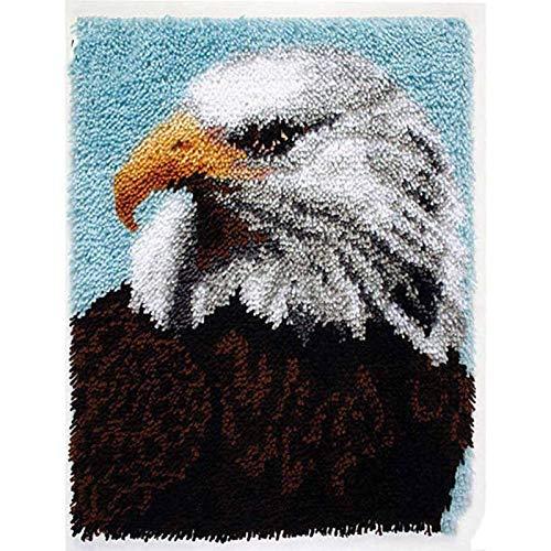 LGWG Knüpfteppich Zum Selber Knüpfen Knüpfset DIY Kreuzstich Set Knüpfen Set 3D Eine Vielzahl Von Adlertiermustern Set Für Erwachsene Kinder Anfänger Kreatives Geschenk,Eagle,80cm*63cm/31 * 24 in