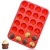 Walfos Moule à Muffins, Muffins en Silicone Anti-adhésifs, sans BPA, Ldéal pour Faire Des Gâteaux Muffins, de la Tarte et du Pain (24 cavité)