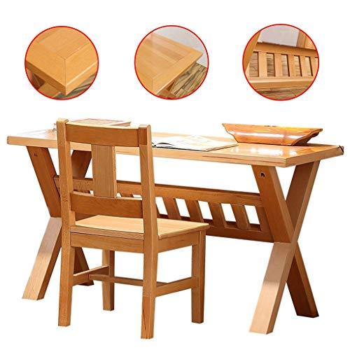 Mobilier Table d'étude en Bois Massif Pur et Chaise Chambre Bureau Ensemble Protection de l'environnement à la Main imperméable à l'eau (Color : Wood, Size : 55 * 100 * 69cm)