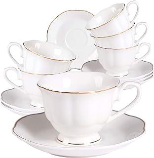 Tasses à Expresso Service à Café Porcelaine - 80ML/2,8OZ Blanche Céramique Anglaise 6 Tasse à Café Cadeau de Noël Moderne ...