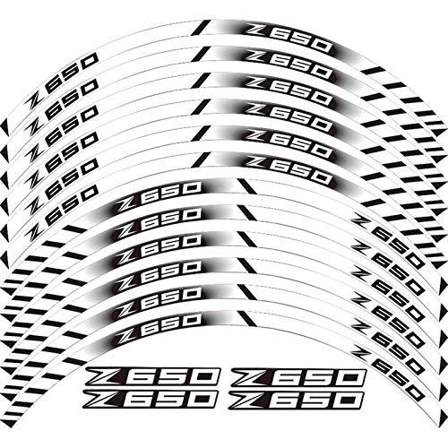 Etiqueta de la Rueda de la Motocicleta 12 PCS Motocicleta Reflectante Neumático Calcomanías Ruedas Moto Pegatinas Protección de decoración Pegatina Rim para Z650 Z 650 (Color : 22)