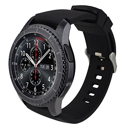 iBazal 22mm Armband Silikon Uhrenarmband Silikonarmband Armbänder Band Ersatz für Samsung Galaxy 46mm,Gear S3 Frontier/Classic,Huawei GT/2 Classic/Honor Magic,Ticwatch Pro Herren Uhrarmband - Schwarz