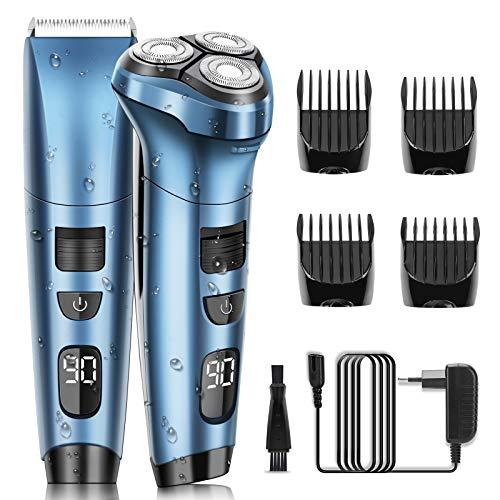 Maquinas de Afeitar Afeitadora 2 en 1 Afeitadora Barba Hombre Impermeable Uso en Húmedo y Seco con Pantalla LED de Potencia ELEHOT