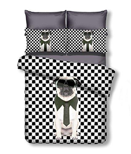 DecoKing 200x220 cm Bettwäsche mit 2 Kissenbezügen 80x80 Hunde Pug Mops Bettwäscheset Microfaser Reißverschluss Mr. Pug weiß schwarz Anilove