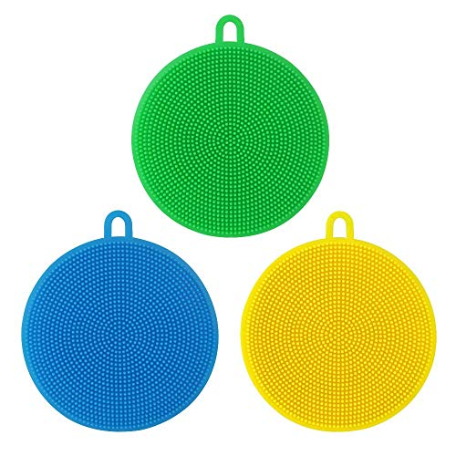 AsherKeep Silicone Sponge for Dishes (3 Pack) - Non Scratch Silicone Sponges - Silicone Dish Sponges - Rubber Sponges Kitchen - Silicone Sponge Scrubber