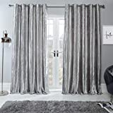 Sienna Crushed Velvet Eyelet Ring Top Pair of Fully Lined Curtains - Silver 66' x 90'