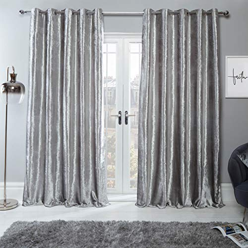 Sienna Crushed Velvet Eyelet Ring Top Pair of Fully Lined Curtains - Silver 46' x 90'