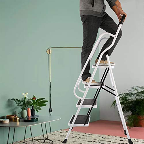 Livebest 4 Steps Ladder Folding Step Stool with Hand Grip Non-Slip Safety Rails Portable Heavy Duty 330 lb Load Capacity for Home Household Kitchen Office Garden,Iron