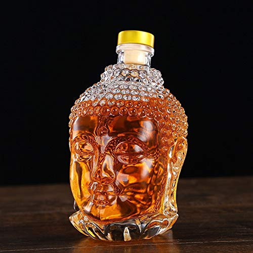 Whisky-glas, 750 ml, glazen fles, Boeddha-beeld-kristal, waterfles, voor wodka whisky drank, bruiloft 750ml