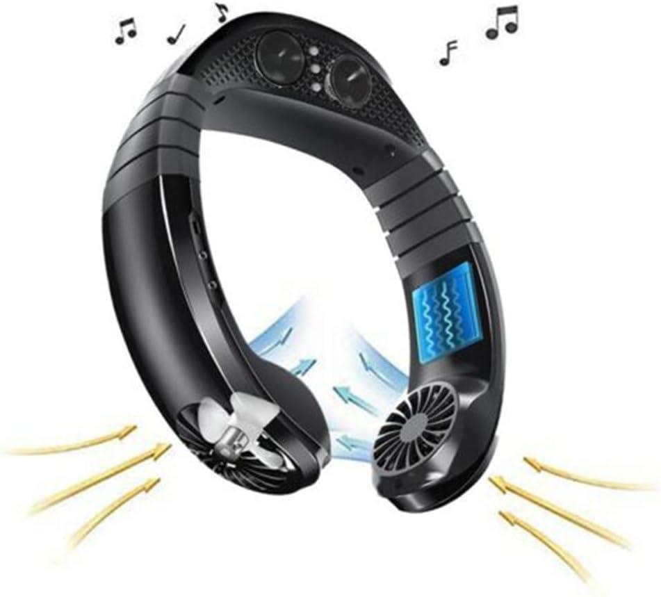 Aliwo Neck Hanging Fan Hand Free Mini USB Charging Bluetooth Speaker Player Sport Music Fan