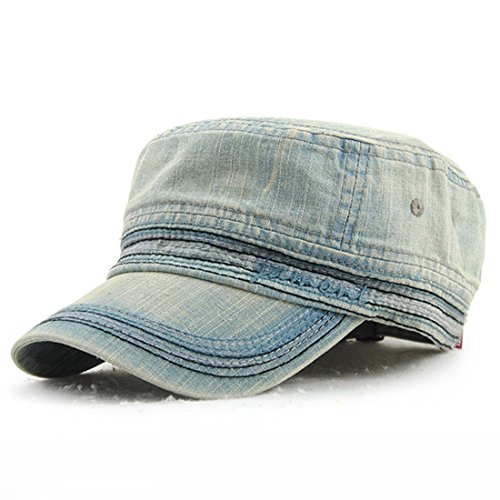 Kuyou Vintage Schirmmütze Flat Cap Jeans Denim Baseball Kappe, Einheitsgröße, Hellblau A