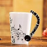 400Ml Tazza Di Musica Creativo Violino Stile Chitarra Tazza Di Ceramica Tazza Di Caffè Tazza Di Tè Per Uso Domestico Tazza Di Caffè Al Latte Con Manico Romanzo Regalo Nota Tazza Tazza D'Acqua-H